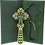 Thumbnail: Gold-plated Blessing Cross with Green Enamel 6 1/2""