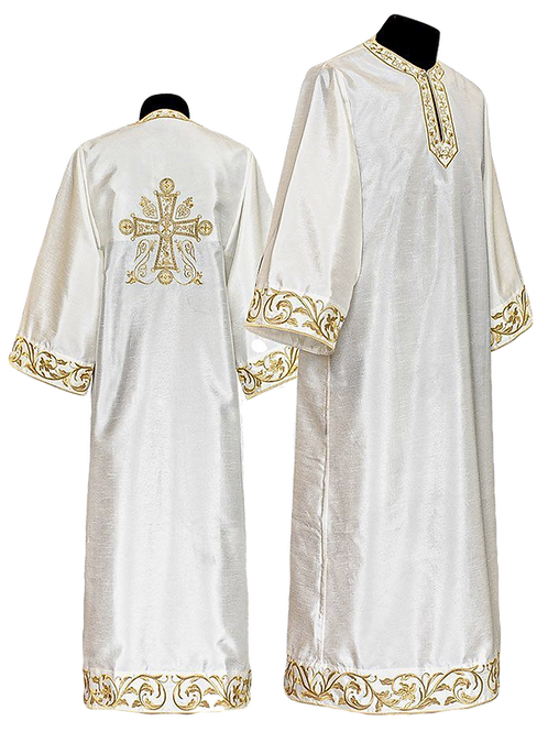 Dechani Altar Servers Tunics - Ivory with Gold Embroidery (14 pieces)