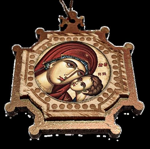 Most Holy Theotokos/Presveta Bogorodica, Wooden Pendant