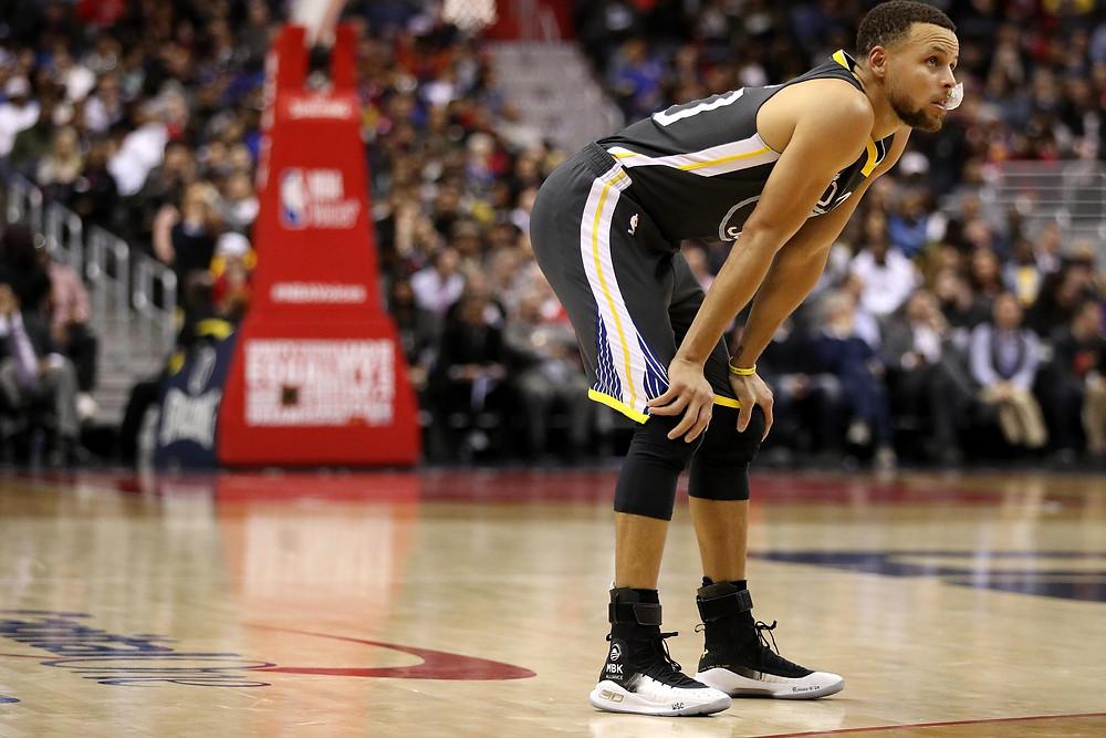 Basketball athlete Stephen Curry ankle braces injury