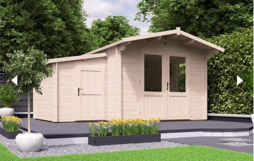 avon log cabin with side store 4.5m by 4m - assembly included