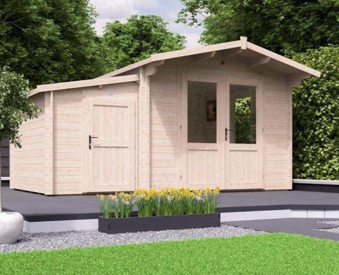 avon log cabin with side store 4.5m by 3m - assembly included