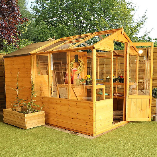 10x6ft Green House with Combi-shed
