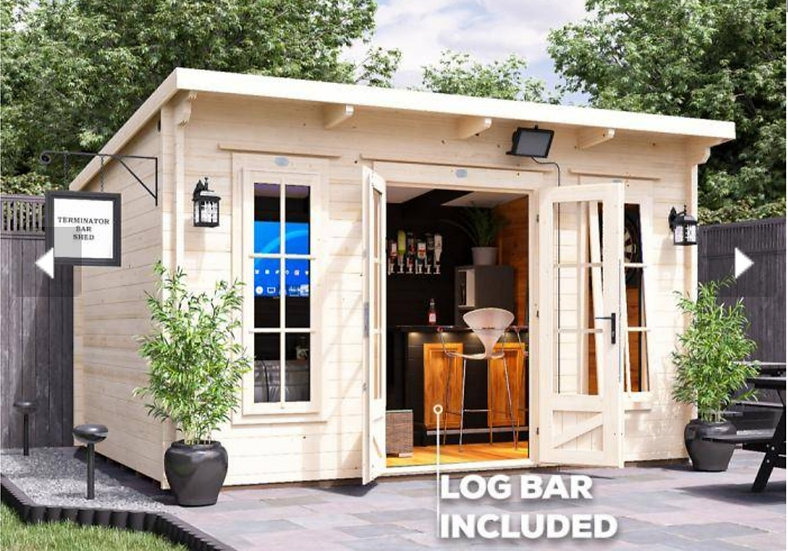 terminator pub shed log cabin 4m by 3m - assembly included