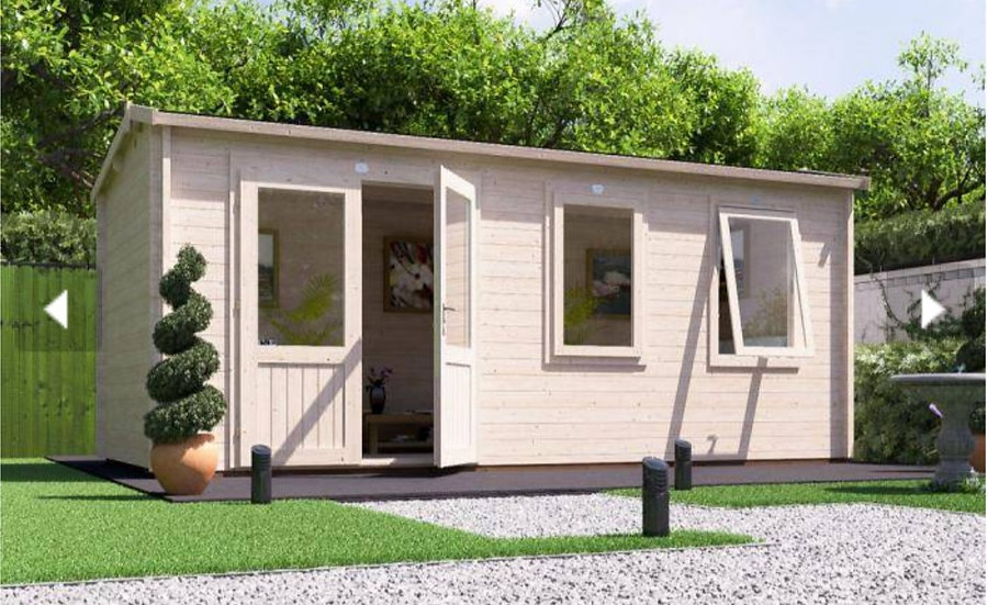 modetro log cabin 5.5m by 2.5m - assembly included