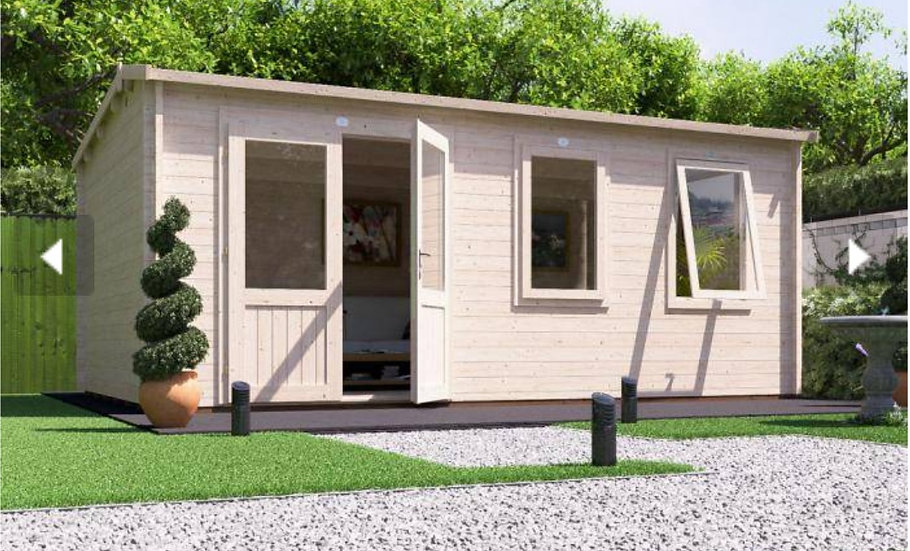 modetro log cabin 5.5m by 3.5m - assembly included