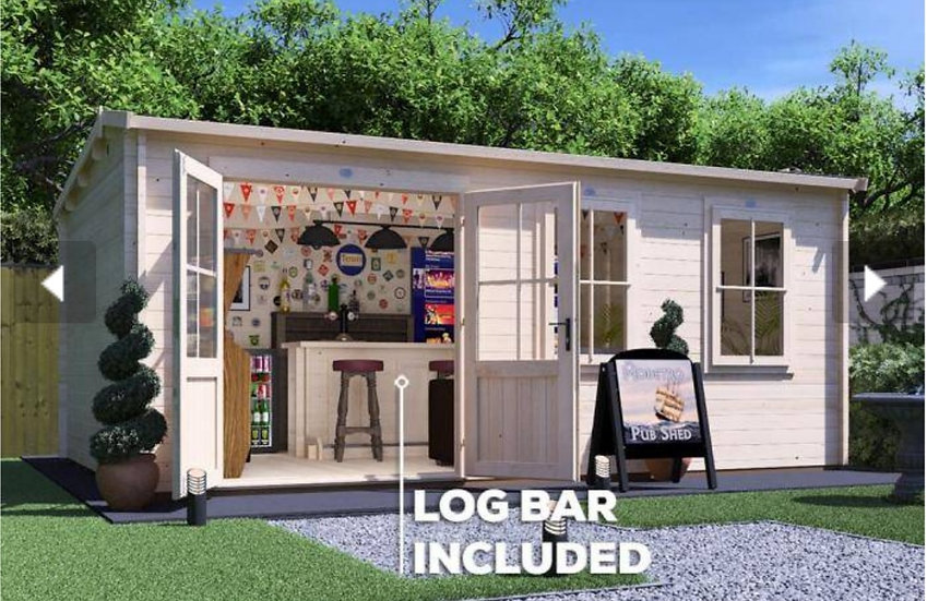 modetro pub shed log cabin 5.5m by 3.5m - assembly included