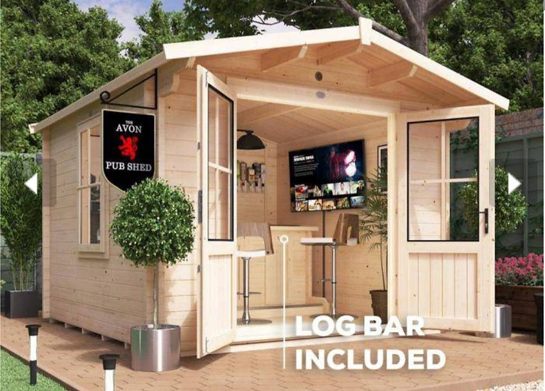 avon pub log cabin 3m by 3m - assembly included