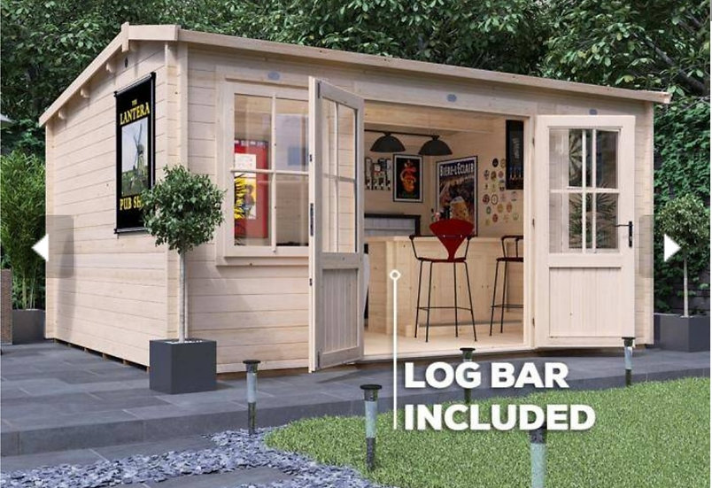 lantera pub shed log cabin 4.5m by 3.5m - assembly included