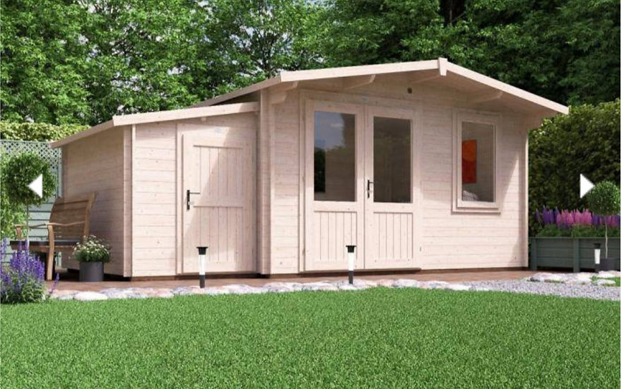 rhine log cabin with sidestore  5.5m by 3m - assembly included