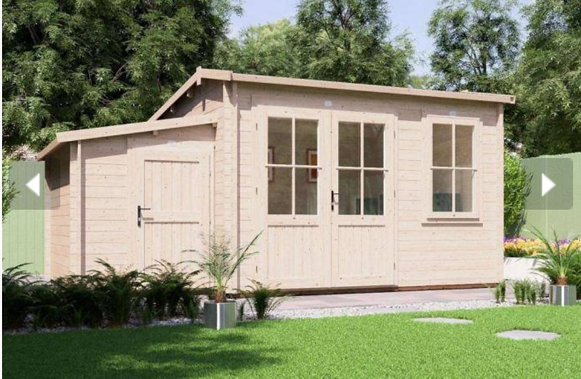 carsare log cabin with sidestore  5m by 3.5m - assembly included