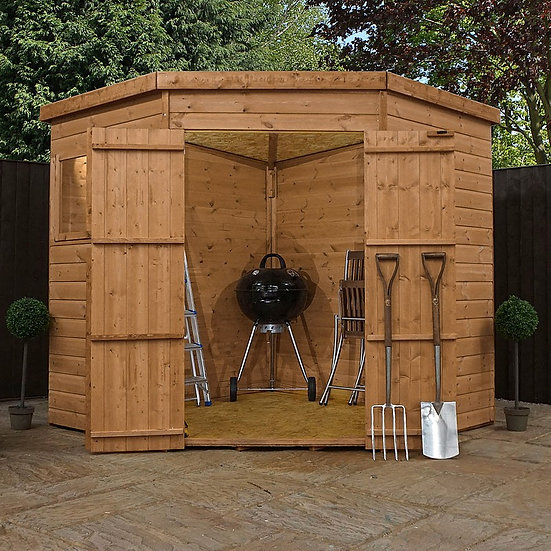 7x7ft Tongue and Groove corner shed.