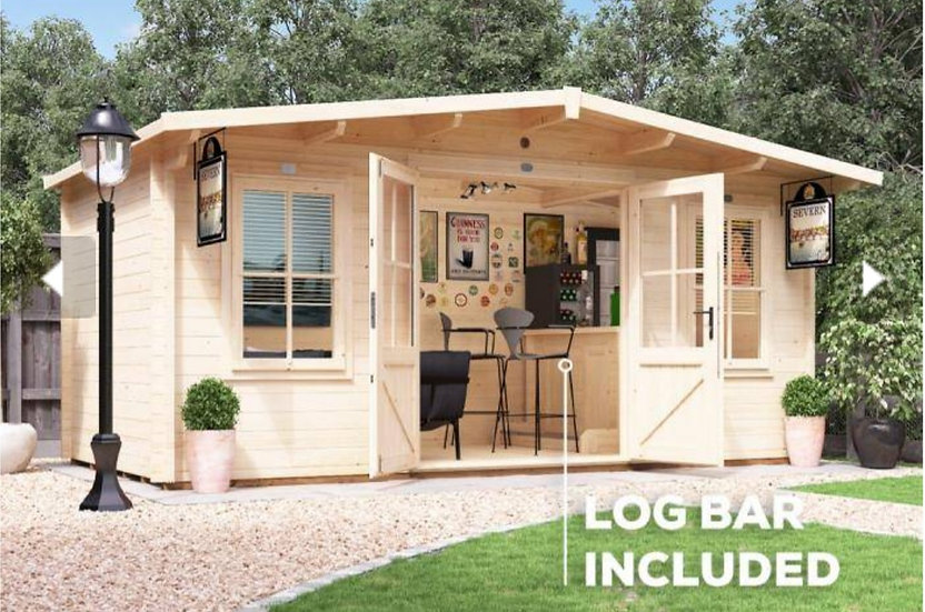 severn pub shed log cabin 5m by 3m - assembly included