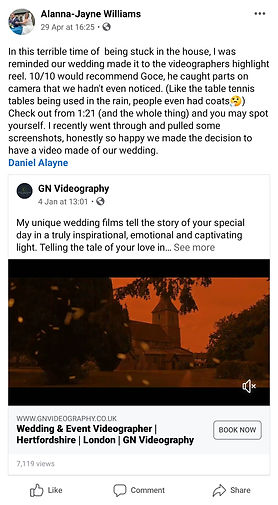 Facebook review Wedding Videographer Essex