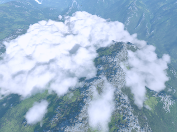 Adding real-time volumetric clouds to a 1:1 scale terrain