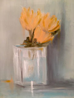 Yellow Flowers Clear Vase