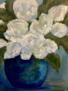 Blue Vase with White Flowers