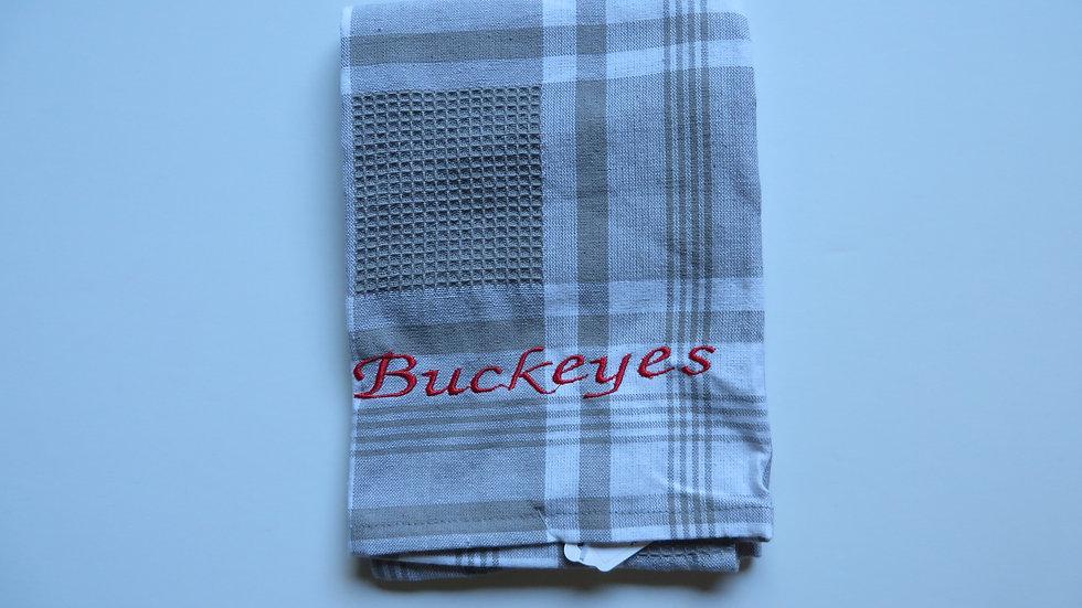 Decorative Towel- Buckeye, gray and white