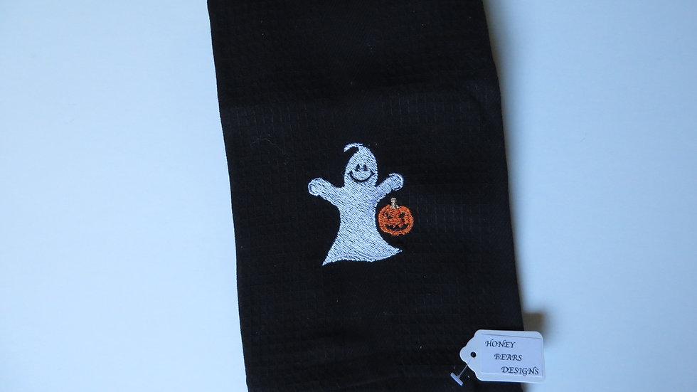 Decorative Halloween Towel- black, ghost