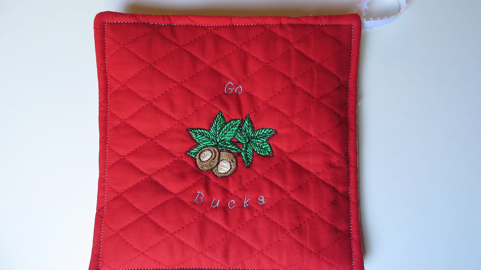 Scarlet Potholder with Buckeye pattern