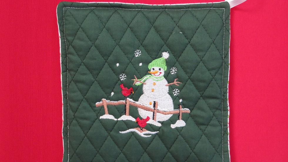 Potholder- dark green, snowman