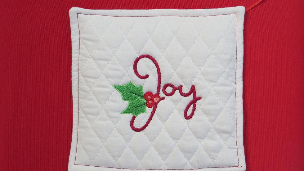 Potholder- white, Joy