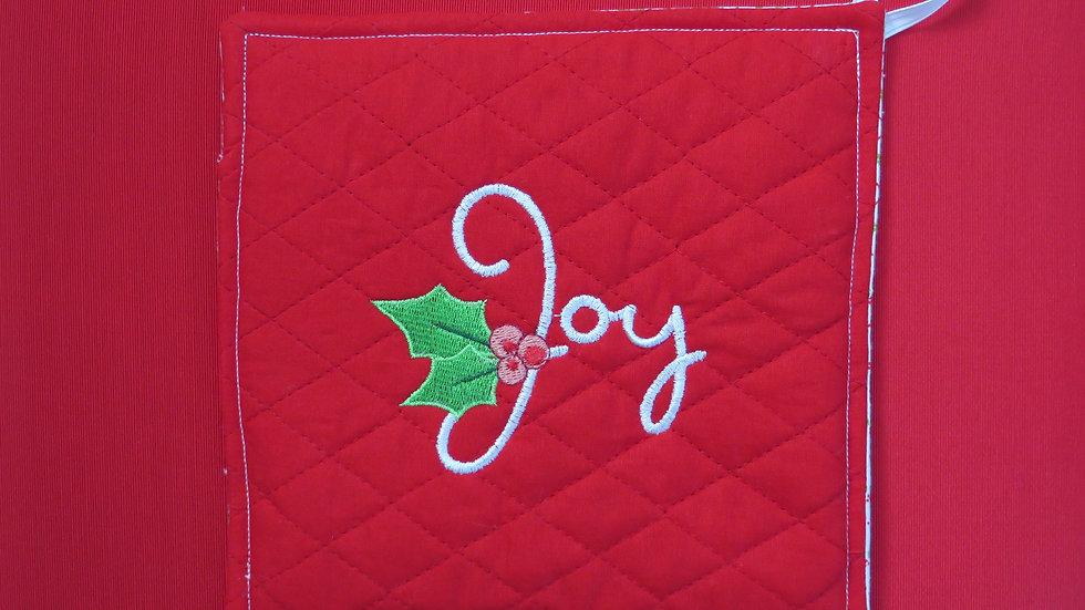 Potholder- red, Joy