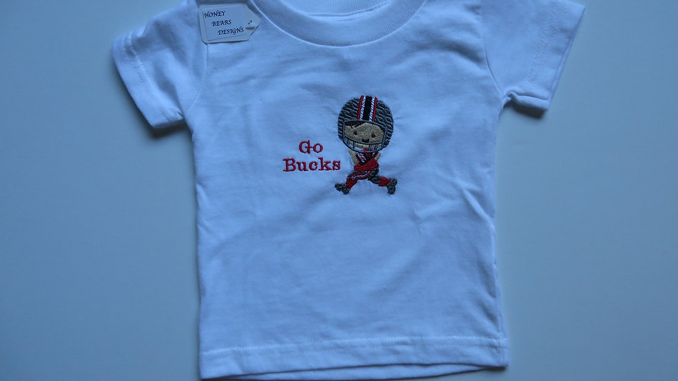 "White Shirt- 6 month, ""Go Bucks"""