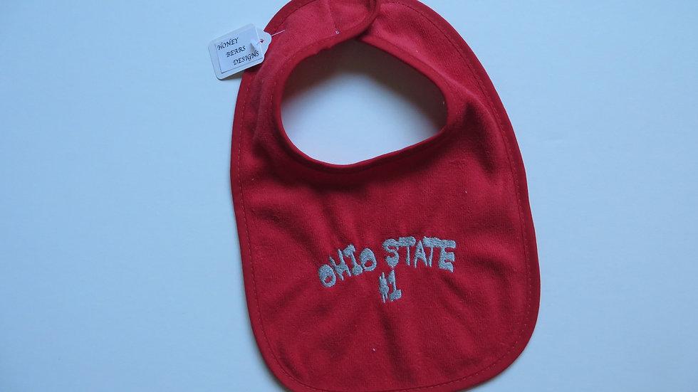 Ohio State bib- red, #1 pattern