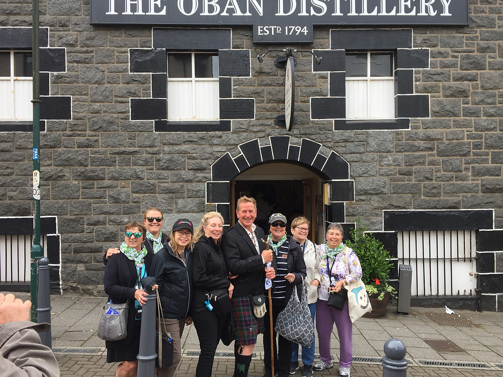 American tourist eagerly awaiting a wee tipple at the Oban Distilary while cruising the west coast on the Variety Voyager