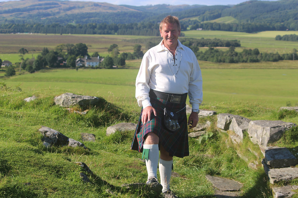 Kilted man on Dunadd