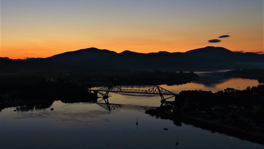 Sunrise and sunset over Connel Bridge