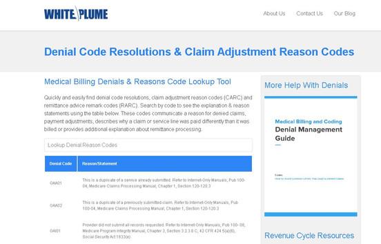 White Plume Landing Page Snapshot - Deni