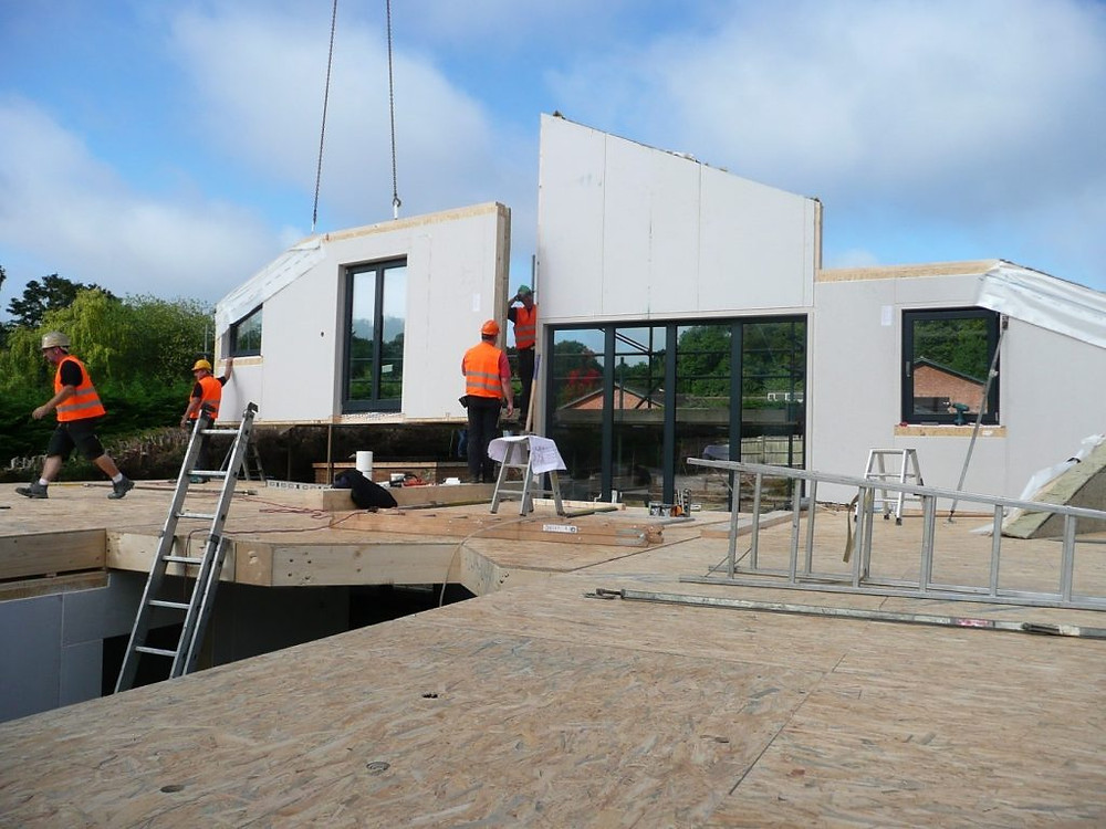 Image of an SDC Kit-Home being constructed using off-site manufactured panels