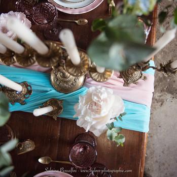 Décoration rose et bleu de mariage romantique et original