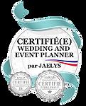 Ecussons de Wedding Planner certifiée et décoratrice de mariage certifiée