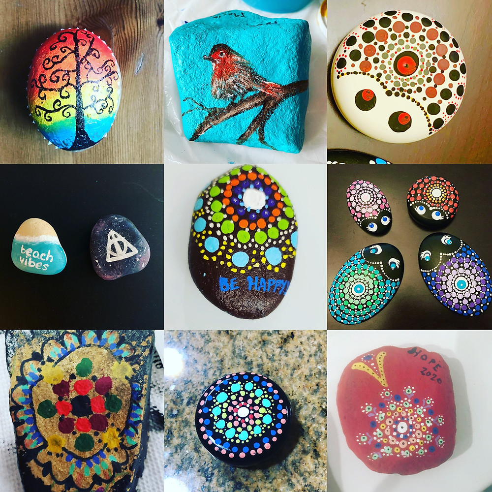 Dot Art and painting on rocks