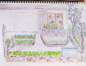 (サロンの庭の完成図 ※絵:渡辺さん)
