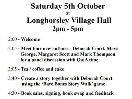 All welcome - Longhorsley, Northumberland. Excited - onstage with 3 wonderful authors!