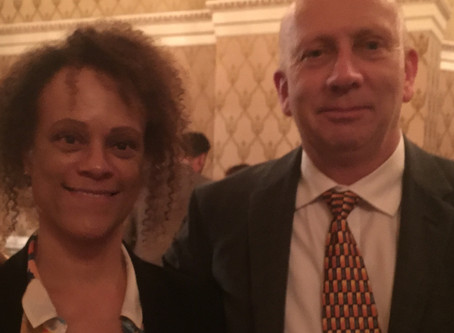 Me at the Authors' Club Annual Dinner with lovely Bernardine Evaristo a few months back - this c