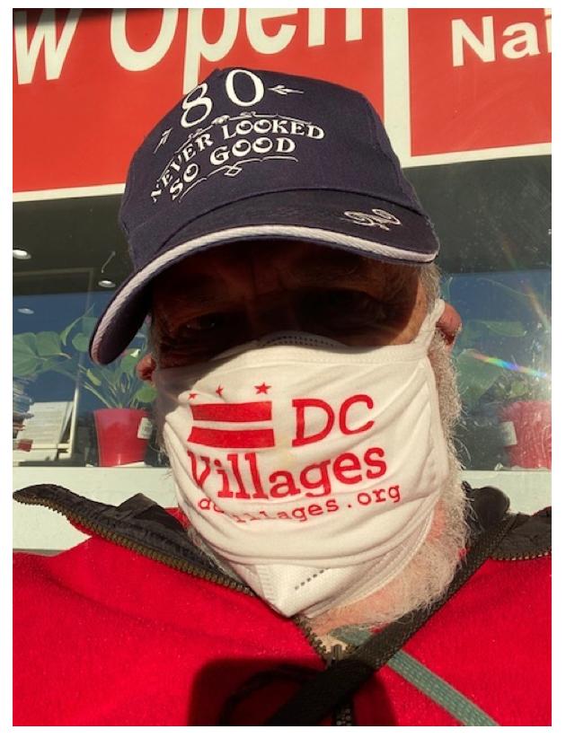 volunteer wearing mask