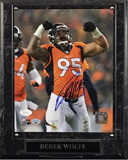 Derek Wolfe Signed 8 x10 Plaque