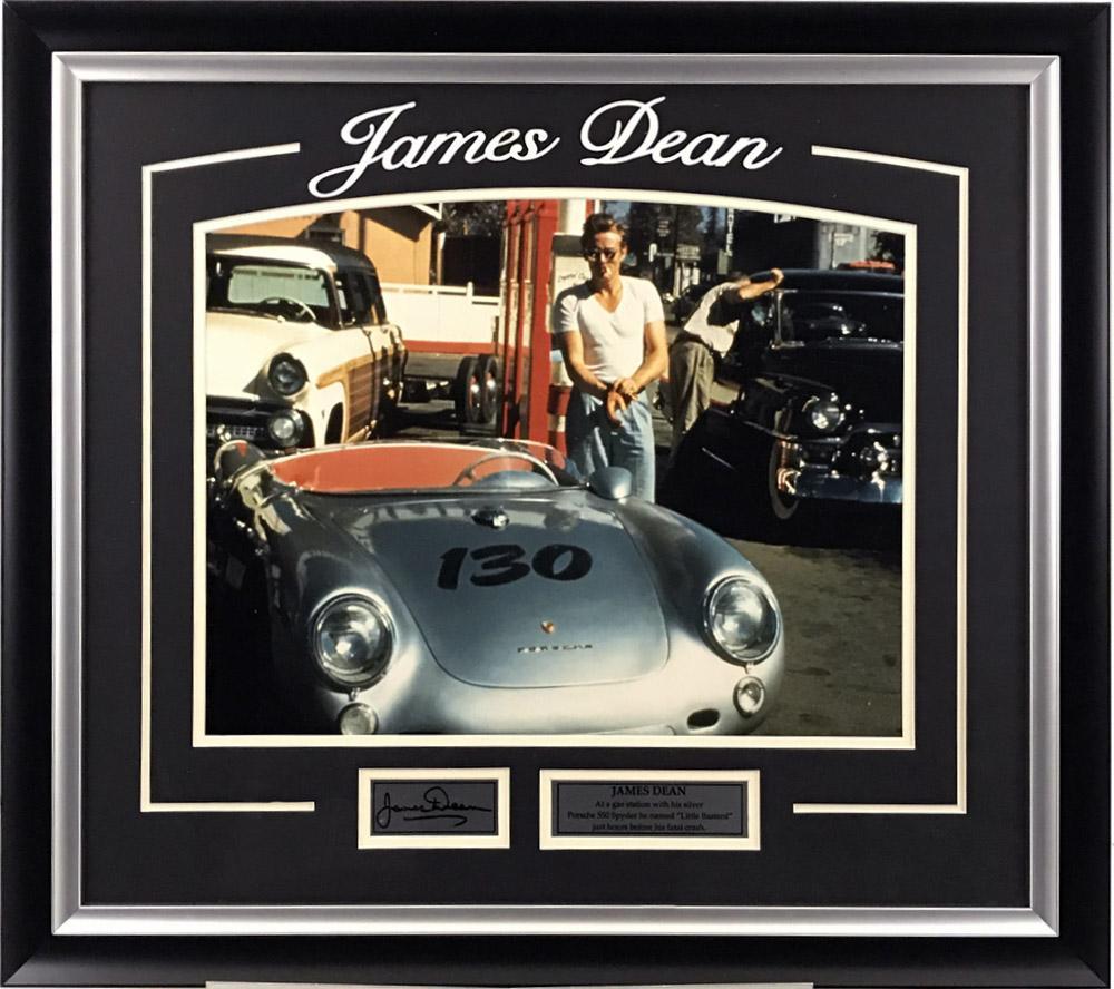 James Dean with Porsche Framed Photo