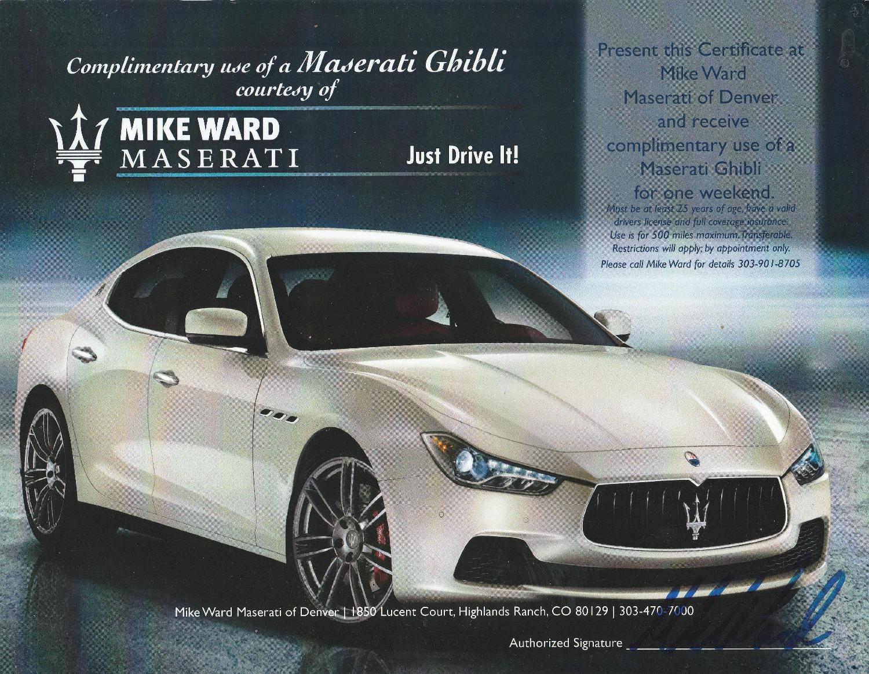 Maserati Ghibli Weekend Rental