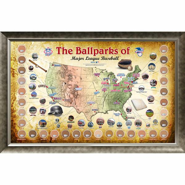 MLB Ballparks Framed Map with Infiel