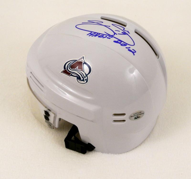 Joe Sakic Signed Miniature Helmet Wh
