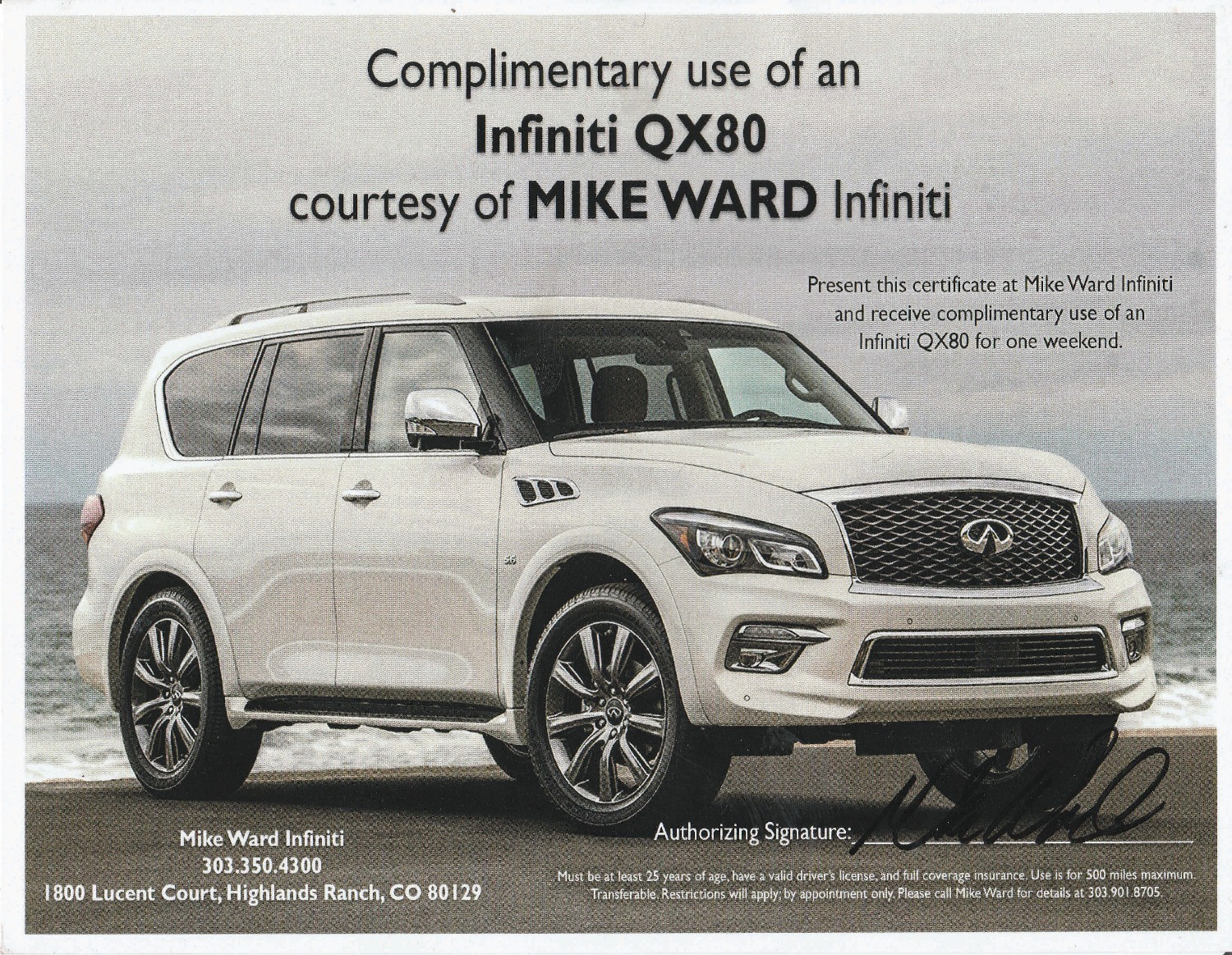 Weekend Rental of Infiniti QX80