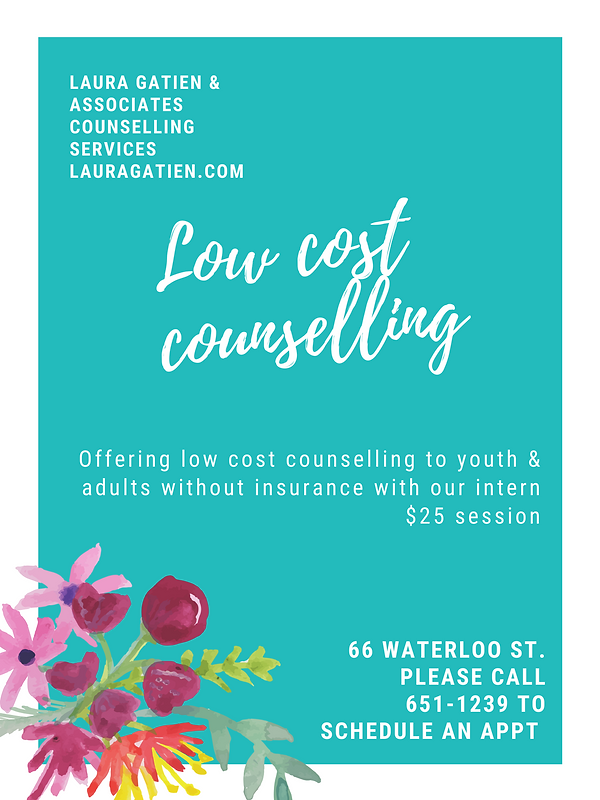 Low cost counselling @ Laura Gatien & Associates Counselling Services Inc.