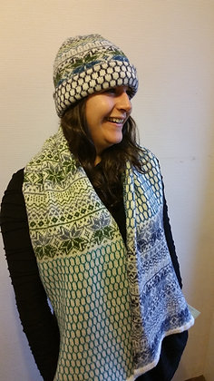 NEW extra wide scarf northen star sea greens