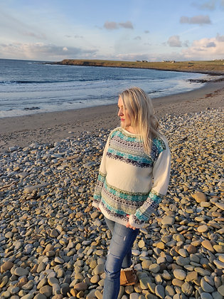 boat neck jumper in north star sea hues pattern